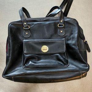 Isaac Mizrahi black leather bag fits laptop